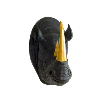 The Serengeti | Large Rhino Head | Faux Taxidermy | Black + Gold Horns Resin