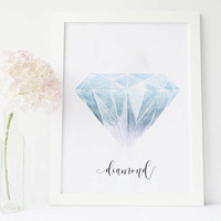 Diamond art gemstone print, gemstone painting, gem stones, gemstone art, gem print, gem art, painted stones, stone wall art, stone decor