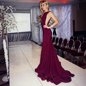 Robe De Soiree Sexy Backless Burgundy Mermaid Prom Dresses Vestido De Festa Long Mermaid Chiffon Formal Evening Party Gowns