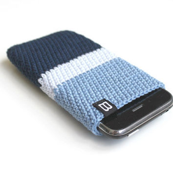 iPhone 5, 4, 3GS case unisex, marine blue / crochet iphone case, sleeve, cover - cell phone bag - unisex, hipster