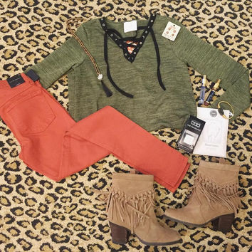Olive Black Lace Up Long Sleeve Top with POCKETS
