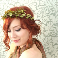 Boho crown, woodland head piece, fern leaf wreath, rustic wedding hair accessory