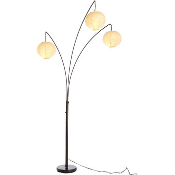 Contemporary Floor Lamp with 3-Light Rice Paper Arch Spheres in Antique Bronze