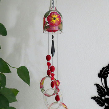 Glass Wind Chime, Recycled wine bottle wind chime, Flowers, Red, Yellow, Sun catcher, yard art, clear glass, House warming gift