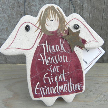 Great Grandmother Gift Angel Salt Dough Ornament