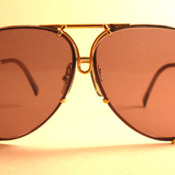 Vintage Porsche Design by Carrera Sunglasses 5621 80s Aviators Gold and silver frame Smoke lenses