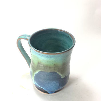 Large Blue Handmade Ceramic Pottery Mug,16 oz. Coffee Mug,Beer Mug,Unique Pottery Mug,Ready to Ship,turquoise pottery mug,blue ceramic mug