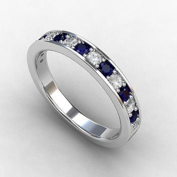 Blue sapphire ring, white sapphire, wedding band, white gold, sapphire wedding, eternity ring, micro pave, unique, multicolor