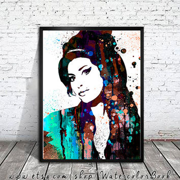 Amy Winehouse Watercolour Painting Print, watercolor painting, watercolor art, Amy Winehouse Illustration, Celebrity Portraits, art print