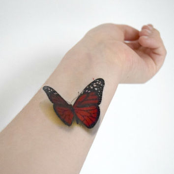 Red Butterfly temporary tattoo - Ink, 3D Tattoo, Realistic, Vintage, Colourful, Tattoo, Woodland, Accessories