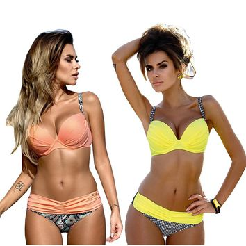 lyric Sexy Bathing Suit Push Up Bikini Set Strappy Swimsuit Women's Swimming Suit Solid Swimwear Cover Up Bra Tanga Bottom Wear
