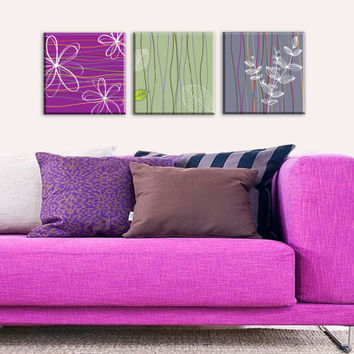 Flower Canvas Art Print, Purple, Mint, Gray, Modern Art, Minimal Art, Living Room Art, Graphic Art, Modern Home Decor, Dorm Decor, Set of 3