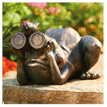 Allen AG59040 Spectator Frog Looking Through Binoculars with Bird Lawn Statue
