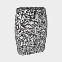 Black and white swirls doodles Fitted Skirt Fitted Skirt