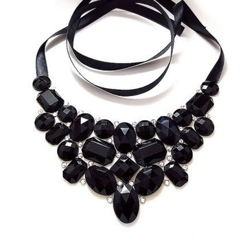Black Rhinestone Bib Necklace, Jeweled Bib, Statement Necklace, Black and White Bib Necklace, Sparkly, Formal, Bridesmaid Necklace