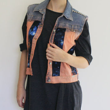 20% OFF SALE Ombre Blue Orange Galaxy Planet Constellation Studded Cut Off Denim Vest / Jacket, Space Odyssey Collection, XS - S