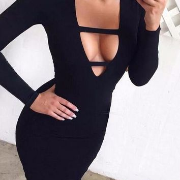 Monique Deep V neck body con dress in 4 colors