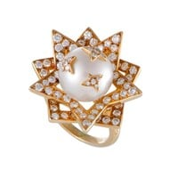 Chanel Comete White Pearl and Diamond Double Star Cocktail Ring