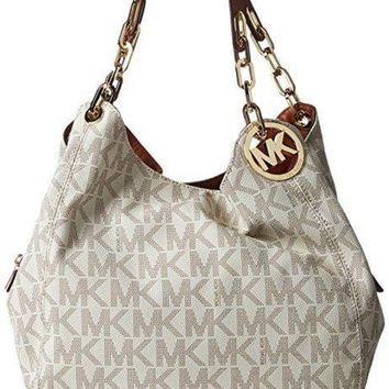 DCCKHI2 Michael Michael Kors Fulton Large Leather Shoulder Tote Vanilla