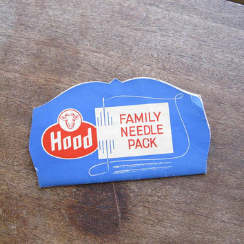 1950s Hood Ice Cream Advertising Promo Needle Book + Insurance Ad Ruler/Measure; Cow/Dairy Advertising; U.S. Shipping Included