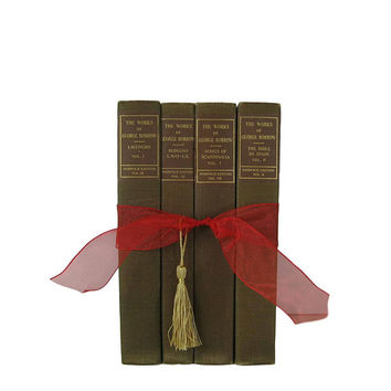 Gifts for the Home, Gifts Under 30, Green Brown  Book Gift Set, Decorative Books ,  Gifts for Decor Enthusiasts, Hostess Gifts, Book Lover