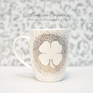 Hand Painted, Shamrock, Latte Mug, St. Patricks Day, St Paddys Day, Four Leaf Cover, Polka Dots, Fun, Coffee Mug, Tea Mug