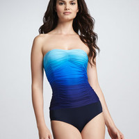 Sea Shade Ombre Ruched One-Piece Swimsuit