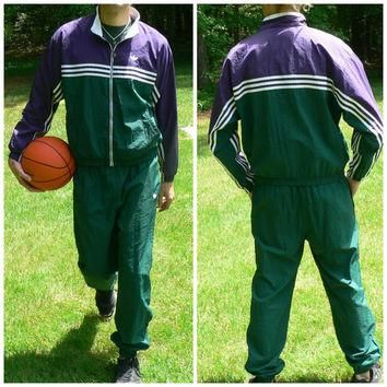 1990's Complete Tracksuit by Adidas - Vintage Jacket & Pants - Fully Lined - Green and