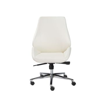 Bergen Armless Low Back Office Chair in White with Chromed Aluminum Base