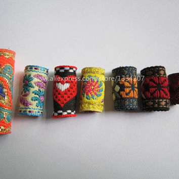 Free shipping 7Pcs/Lot mix fabric hair braid dread dreadlock beads clips cuff approx 8-12mm hole NO.03