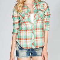 MMXII Womens Basic Plaid Flannel Shirt