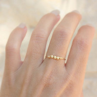 Tiny Gold  Ring - 14k gold filled wire with three tiny gold beads, simple gold ring,gold ring,14k gold filled ring, Minimum Jewelry