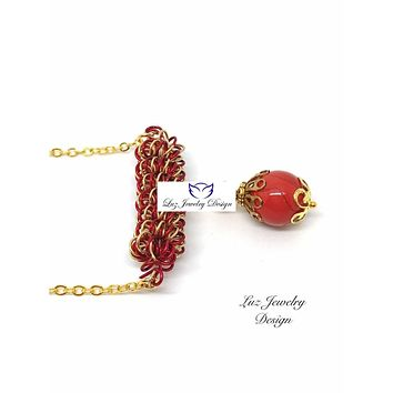 Red and gold necklace, Wire coil necklace, gold red necklace, red necklace, gold necklace, coiled jewelry