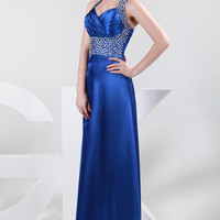 Blue Halter Beads Fringed Pleated Maxi Evening Dress