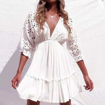sexy v neck hollow out white beach sundress women batwing sleeve lace mini dresses party vestidos fashion