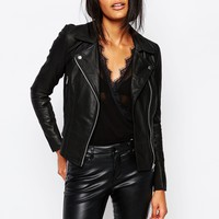 Y.A.S Sophie Soft Leather Biker Jacket at asos.com
