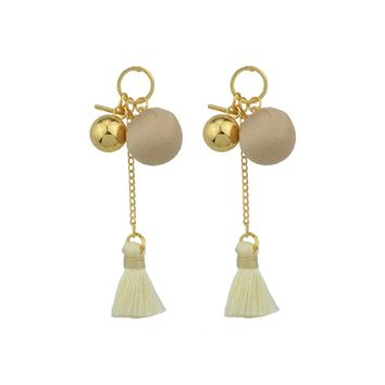 Beige Velvet Ball Tassel Earrings