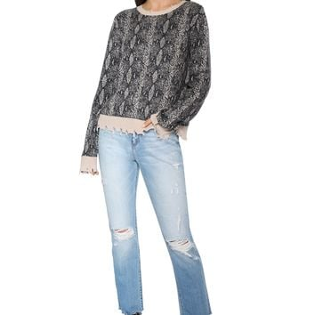Decker Distressed Python Sweater
