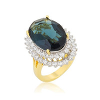 Two-tone Double Halo Cocktail Ring, size : 09