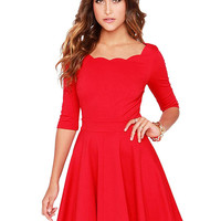Red Scallop Skater Dress