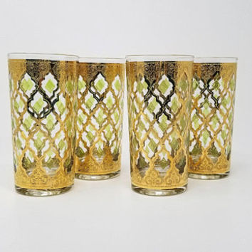 Culver Valencia Tumblers Highball Glasses Set of Four