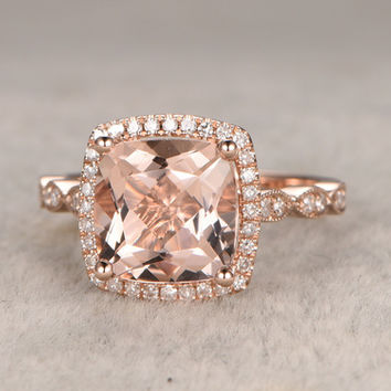 8x8mm Cushion Morganite Engagement Ring Diamond Wedding Ring 14k Rose Gold Halo Marquise Art Deco Design