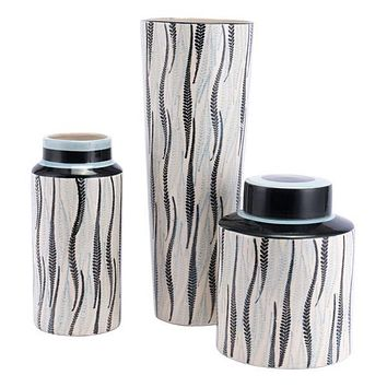 A11427 Espiga Tall Vase White & Black