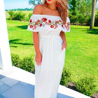 Ruffle My Heart Maxi: White/Multi