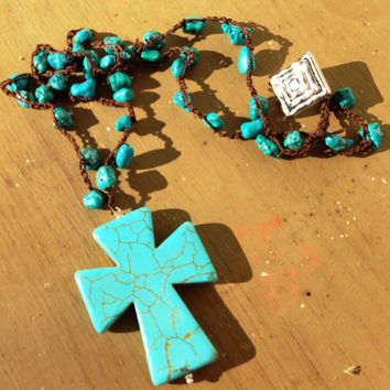 Artisan Turquoise Necklace Crocheted Gemstone Nugget Large Statement Cross Chocolate Silk Thread Button Shank Howlite Christian Religious
