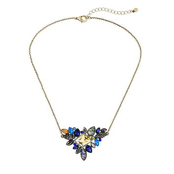 Blue Triangle Gem Statement Necklace with Gold Chain