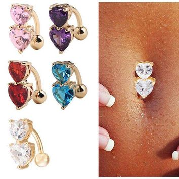 ac DCCKO2Q Crystal CZ Belly Button Ring Piercing Body jewelry 1Pc Navel Piercing 2 Colors Double Heart Shape Love