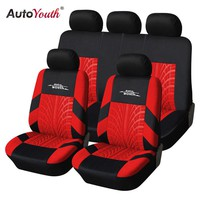 AUTOYOUTH Red Tire Track Detail Style Polyester Fabric Universal Car Seat Covers Set Fits Most Car Covers Car Seat Protector