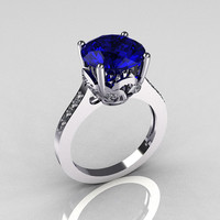 Classic 10K White Gold 3.5 Carat Blue Sapphire Pave Diamond Solitaire Wedding Ring R301-10WGDBL
