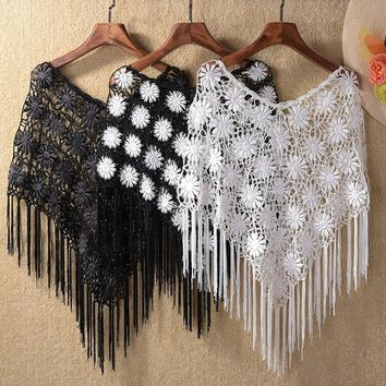 Cover Ups Lace Hook Flower Hollow Out Shawl Capelet Crochet Tassel Shawl Poncho Sun Protection Pashmina Cover-ups